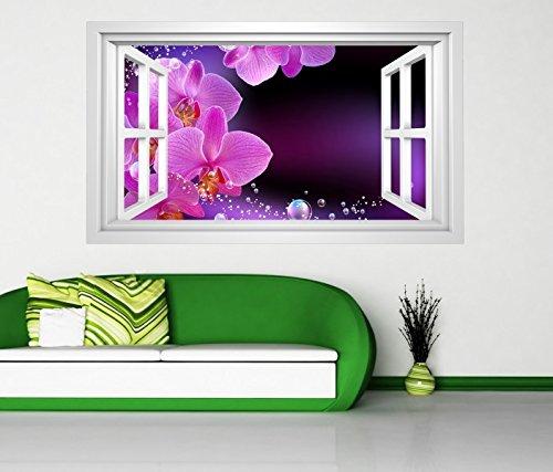 3D Wandtattoo Orchidee Blume lila rosa WasserFenster selbstklebend Wandbild sticker Wohnzimmer Wand Aufkleber 11H658, Wandbild Größe F:ca. 97cmx57cm