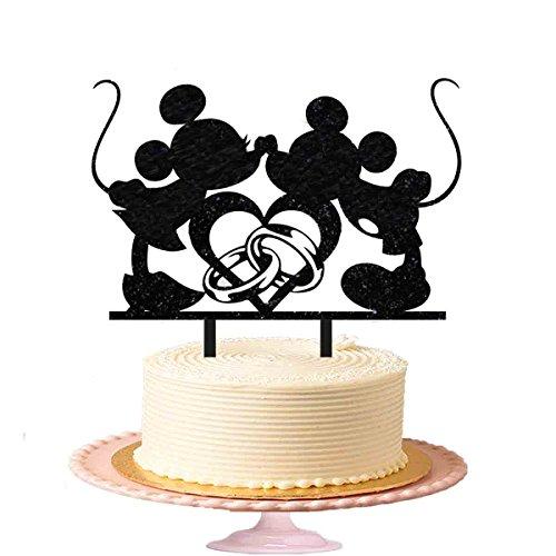 Micky Maus Kisses Minnie Maus Hochzeit Tortenaufsatz Engagement Party Kuchen Topper in Schwarz glänzend (Toppers Minnie Maus Kuchen)