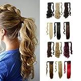 S-noilite Haarteil Zopf Pferdeschwanz Gewellt Haarverlängerung 43cm natürlich Hair Piece div. Farben (43cm , Golden Mix Bleichmittel Blond)