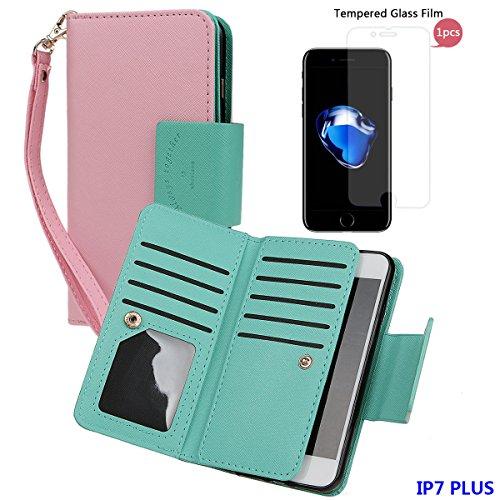 """xhorizon [Aktualisiert] [Luxusgold] [Erklassig] [Magnetisch Auto Mount Kompatible] Premium PU Leder Magnetisch Abnehmbar Mappen Kasten Abdeckung mit Kartensteckplätze Auto-Funktionen iPhone 7 (4.7"""") rosa+Glas"""