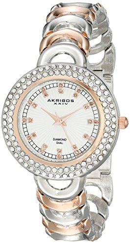Akribos XXIV da donna in argento con tre Sunburst Orologio al quarzo bicolore, a movimento di orologio
