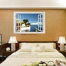 3D Fake Falsche Fenster Mediterrane, Wand Aufkleber PVC Home Aufkleber  House Vinyl Papier Dekoration Tapete