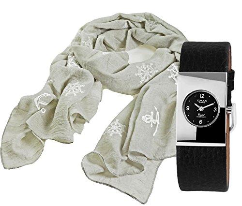 Geschenk Set, Sportlich- Elegante- Zierliche Damenuhr - in aktuellem puristic Design mit leichtem Tuch aus sommerlicher Webware mit modisch- maritimen Motiven
