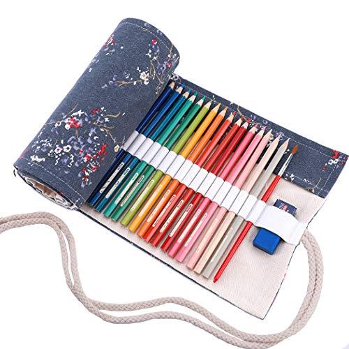 Amoyie Leinwand Stifterolle für 72 Buntstifte, Hand Roll-up Mäppchen (Keine Schreibzeuge im Lieferumfang) - Graue Pflaume