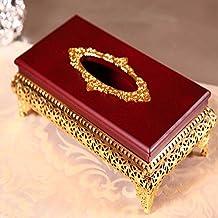 COLLECTOR Europeo d'oro trafitto mogano desktop casella tessuto Portakleenex wipes Hotel KTV libro scatola di scatola metallica tovagliolo,Medio - Libro Blu Tovagliolo