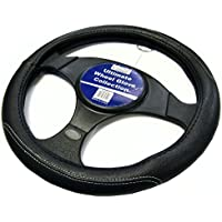 XtremeAuto®- Funda para volante, hecha de cuero, color negro con costuras en color gris–xawg03W