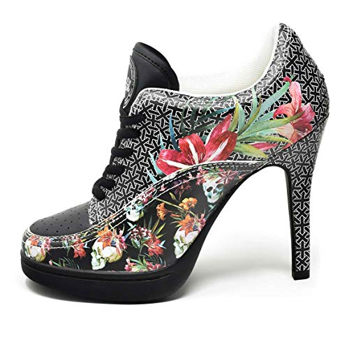 MISSY ROCKZ DEATHHEAD Black Sneaker High Heels, Größe:EU 40 / UK 7 / US 9, Absatz:8.5 cm 9 High Heels