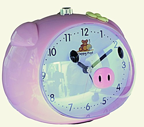 HAPPY PEPI Kinderwecker pink mit Musik oder Klingelton, ohne Ticken, geräuschlos, batteriebetrieben