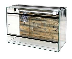 Terraland Terrarium avec Galerie 15 W et Lampe Chauffante pour Reptile et Amphibien 60 x 30 x 40 cm