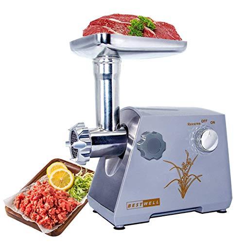 LINN Fleischwolf Elektrischer Fleisch Fleischwolf,Profi Wurstmaschine Set inklusive Schnitzelwerk zum Raspeln, Schneiden, Reiben,Edelstahl/Grau/400W