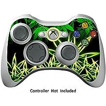 GameXcel ®  Xbox 360 Controlador de la piel - Vinilo Pegatina protectora para X360 delgado sin hilos del juego - X3 controlador Decal - Weeds Black [ Controlador no está incluido]