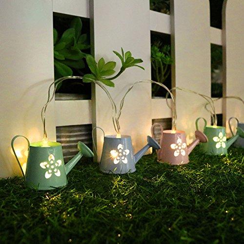 Valery Madelyn Frühling Beleuchtung Deko LED-Lichterkette 1.2m Grüße Berühren Eisen 6 Stück Gießkanne Dekoration Garten Deko 120*6*1.5 cm 20 cm Intervalle mit Hellrosa Hellblau Hellgrün