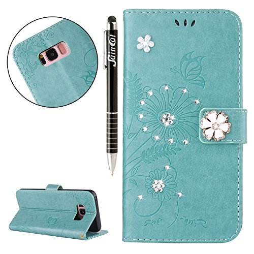 Custodia iPhone 5, iPhone 5S Flip Case Leather, SainCat Custodia in Pelle Flip Cover per iPhone 5/5S/SE, Custodia Bling Glitter Diamante Ultra Sottile Anti-Scratch Book Style Custodia Morbida Cover Pr Verde