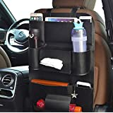 MULTIFARIOUS PU Leather Car Backseat Organizer Waterproof Back Seat Storage Pockets with Tablet, Mobile, Bottle, Tissue…