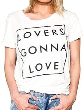 LHWY Las Mujeres Amantes De La Letras Impresión Manga Corta Camisa Blusa Casual Tops T Shirt
