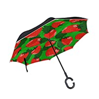 JSTEL Double Layer Inverted Red Strawberries With Leaf Umbrella Cars Reverse Windproof Rain Umbrella for Car Outdoor With C Shaped Handle