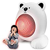 QLIGHA Heizung Mini Portable Cartoon Silent Button Hot Air Machine,White