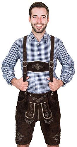 Bayerische Herren Trachten Lederhose kurz, Trachtenlederhose mit Trägern, original in Dunkelbraun, Oktoberfest,...
