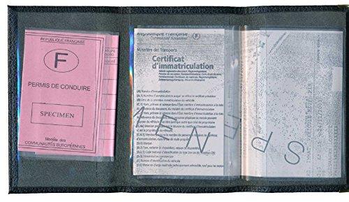 Schutz Tasche Leder Schutzhülle für Kfz-Papiere-FÜHRERSCHEIN Personalisierte mit der Registrierungsnummer Ihres Autos Schwarz
