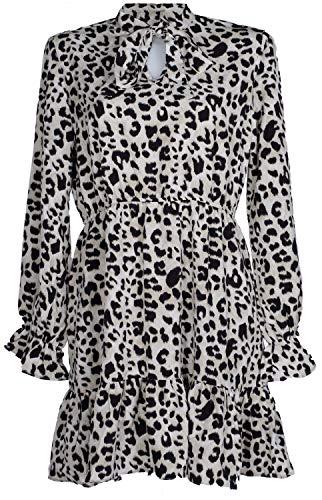 Leopard Design Kleid (styleBREAKER Damen Minikleid langärmlig mit Leoparden Animal Print Muster, V-Ausschnitt und Schluppe, Rüschen, Hängerkleid, Kleid 08010060, Farbe:Grau-Schwarz, Größe:L)