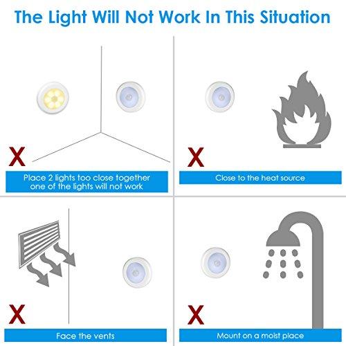 AMIR Nachtlicht mit Bewegungsmelder, LED Bewegungsmelder Licht, Auto ON/OFF Nachtlicht, Batterie-Powered Treppen Licht, Schrankleuchten, Schrank Lichter für Flur, Schlafzimmer, Küche (Warmes Weiß) - 8