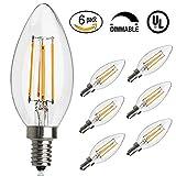 Antique ampoule LED, E12Base 2700K 4W 30W vintage Edison LED Lustre ampoules LED Chandelier ampoule, à intensité variable LED bougie ampoule à filament de tungstène pour la maison, cuisine, salle à manger, chambre à coucher, salon, Blanc chaud, Lot de 6, E12, 4.00 W 220.0 voltsV