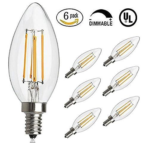 Antik LED Glühbirne, E12Sockel 2700K 4W 30Watt Vintage Edison LED Kronleuchter Leuchtmittel LED Candelabra Glühbirne, dimmbar LED Kerze Filament Wolfram Glühbirne für Zuhause, Küche, Esszimmer, Schlafzimmer, Wohnzimmer, warmweiß, 6Stück