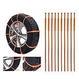 Cadenas de nieve antideslizantes para neumáticos de automóviles, cadenas de nieve de invierno 10PCS, cadenas de nieve antideslizantes y guantes de trabajo para automóviles