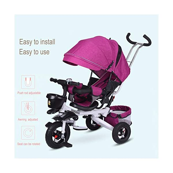 GSDZSY - 4 IN 1 Children Foldable Tricycle,seat Can Be Rotated 360° And The Backrest Can Be Adjusted, Baby Can Sit Or Lie Flat, Comfortable Seat, 6 Months -6 Years Old GSDZSY ❀ Material: High carbon steel + ABS + EVA wheel, suitable for children from 6 months to 6 years old, maximum load 30 kg ❀ Features: The push rod can be adjusted in height, the seat can be rotated 360, the backrest can be adjusted, the baby can sit or recline; the adjustable umbrella can be used for different weather conditions ❀ Performance: high carbon steel frame, strong and strong bearing capacity; non-inflatable rubber wheel, suitable for all kinds of road conditions, good shock absorption, seat with breathable fabric, baby ride more comfortable 5