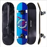 BAYTTER® Skateboard Komplett Board Funboard 79x20cm mit 7-lagigem Ahornholz und ABEC-11 Kugellager 95A Rollenhärte, für Kinder, Jugendliche und Erwachsene, 3 Farben wählbar (blau)