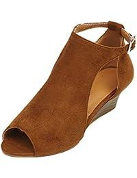 Sandalias tacón alto mujer,❤ Sonnena Zapatos de mujer de fondo plano Sandalias de