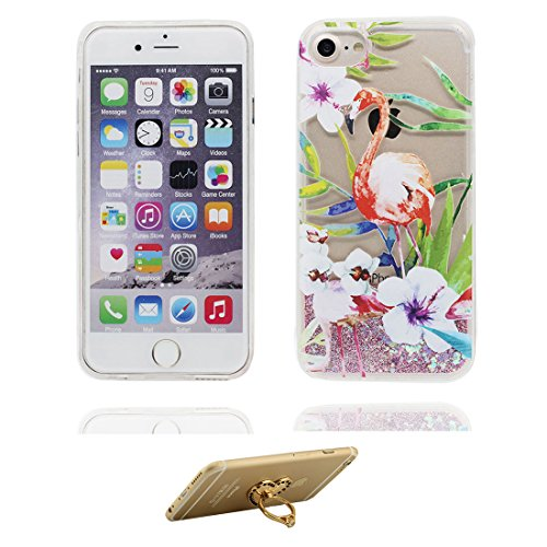 """iPhone 6 Coque, iPhone 6s étui Cover 4.7"""", [ Bling Glitter Fluide Liquide Sparkles Sables] iPhone 6 Case Shell (4.7""""), (Flamant) anti- chocs & ring Support # 5"""