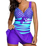 TWIFER Frauen Bikini Set Plus Größe Tankini Set Boy Shorts Dot Gepolsterte Damen Push Up Swimdress Beachwear Badeanzug S-5XL (S/38, Lila)