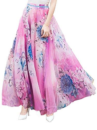 DEBAIJIA Falda Larga Mujer Maxi Bohemia Playa Vacaciones Gasa con Estampado Floral Talla Grande Cintura Elástica Rose - L
