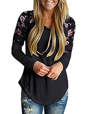 Longra Damen Shirt Langarm Bluseshirt mit Blumendruck Basic Langarmshirt Striped Oberteil Casual Tops Bluse Elegant...