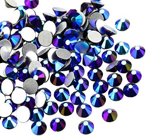 Jollin Kristalle Flacher Rückseite Strasssteine Glas Glitzersteine Nagelkunst Edelsteine Runde Diamant Gems, Jet AB, SS16 576pcs -