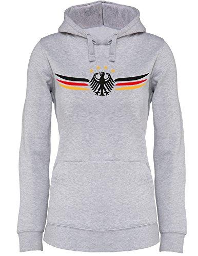 Deutschland Adler mit Flügel in Deutschlandfarben EM 2016 - Damen Hoodie Grau/Schwarz-Rot-Gelb