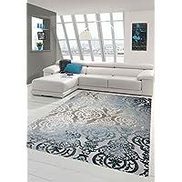 Designer Tapis contemporain Tapis en laine Heather tapis du salon tapis Ornement Turquoise Gris Crème Größe 80 x 300 cm