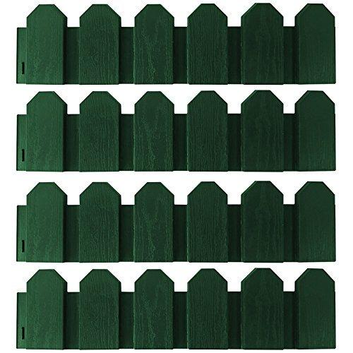 PROHEIM Minizaun Set 2,4 Meter witterungsbeständige Beeteinfassung aus Polypropylen 15 cm hohe Rasenkante Zierzaun, Farbe:Grün