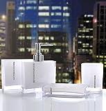 Luxus 4 Sets Acryl Badezimmer Zubehör Set Diamant besetzt Dekoration Set … (Weiß, Diamant)