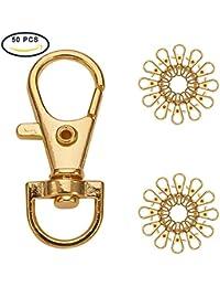Pandahall Elite–aproximadamente 20pcs/bolsa Chaines con anillo para los Porte-Cles en hierro, platino, 26mm, aleación, dorado, 35x13mm