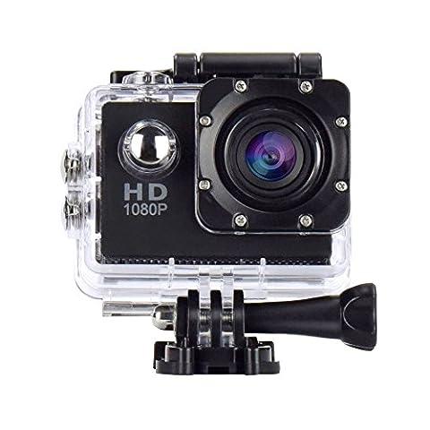 Vemont Action Caméra sport, caméscope, sports 30M caméra 2.0 HD 1080P écran étanche objectif grand angle de 120 degrés multiples accessoires Sports et loisirs, plongée, natation, course, vélo, etc. (Noir,