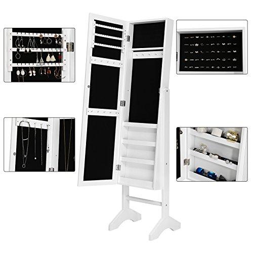 Songmics JBC77W Schmuckschrank und Standspiegel zwei in einem, weiß, 35,5 x 153 x 35 cm - 9