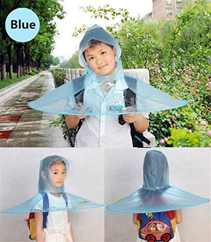 OOFAYWFD Creative Impermeable Paraguas Sombrero Gorro Gorra Exterior Niño Lluvia Abrigo Cubierta Transparente Paraguas,Blue