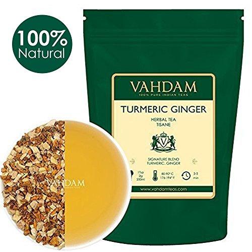 VAHDAM, té de hierbas con jengibre y cúrcuma, hojas sueltas | Juego de 2, 100 g cada uno (100 tazas) | India Spice Wonder | Mezcla de té de cúrcuma y té de jengibre | Té 100% té de hierbas natural