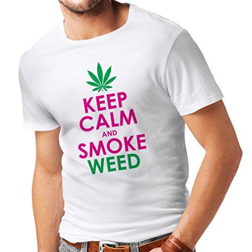 lepni.me Männer T-Shirt Halten Sie Ruhe und Rauch - Marihuana Blatt - Unkraut Raucher (XX-Large Weiß Magenta) (Zeichen Milwaukee)