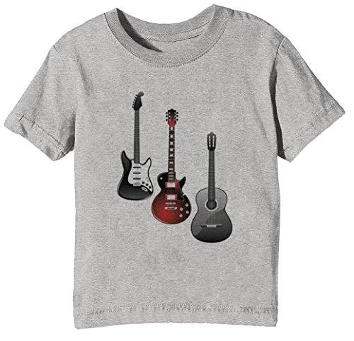 Gitarren Kinder Unisex Jungen Mädchen T-Shirt Rundhals Grau Kurzarm Größe S Kids Boys Girls Grey Small Size S (Ohrhörer Für Teen Jungen)