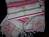 HolyLandMarket Womens Pink with Gold Messianic Shawl / Tallit - The Messiah Tallit (One Item Provided per Order)