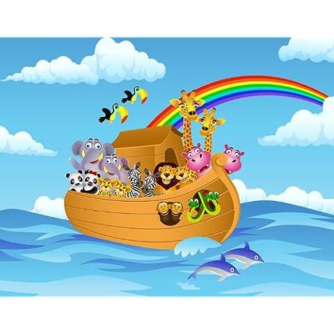 Carta da parati foto-carta da parati Arca bambini KT261 Carta da Parati animali della Bibbia WTD arca di dimensioni: 420 x 270 cm colla da parati murale XXL-carta da parati