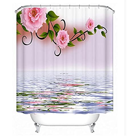 KKLL 3D Roses Polyester Thickened Shower curtain Bathroom Partition Semi-shade Waterproof curtain , 1 , 180*200cm